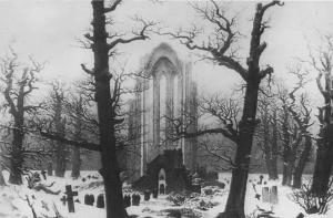 Gothic ruins and graveyard