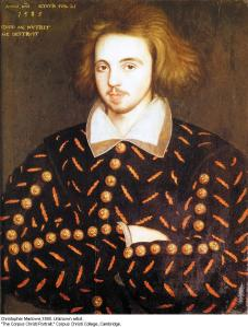 A famous portrait of Marlowe from Corpus Christi College, Cambridge, painted in the year he may have become a spy for England