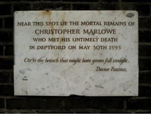 The sign over Marlowe's grave.