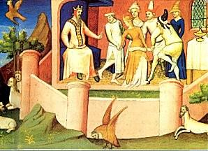 A painting of the Old Man of the Mountain receiving assassins in his castle within the garden of the Earthly Paradise.