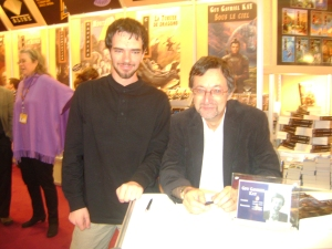 I met Guy Gavriel Kay at the Alire stand during Salon du livre in November. He signed all my books--and my Honours Thesis proposal.