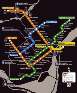 The metro system in Montreal. Do we see a Montreal Below when we look at this map? Click to see a more legible version.