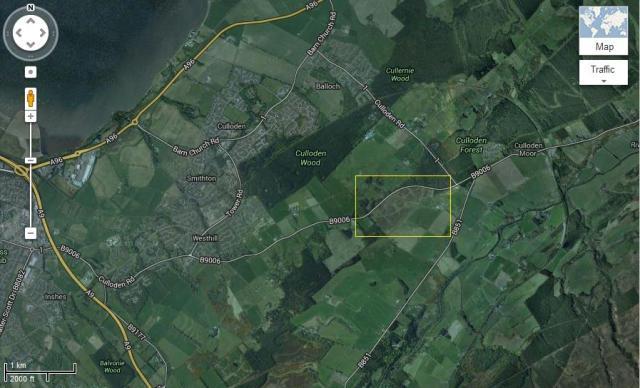 The Battlefield is shown, near Culloden