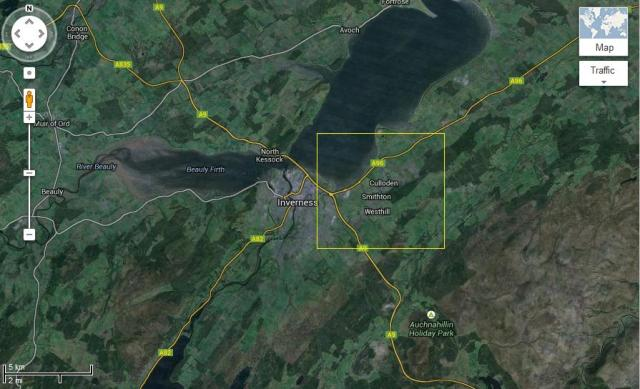 Culloden is shown near Iverness