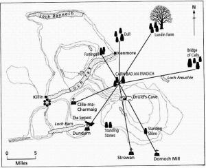 Ley line map linking sacred sites in Scotland.