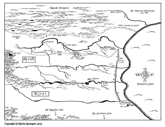 A map of Kitai, Kay's setting for River of Stars. A reflection of China's Song Dynasty. Everything south of the Long Wall and north of the Great River is lost to the Xiaolu.