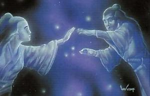 The Weaver Maid and Herdsman cannot meet across the River of Stars (the Milky Way), a metaphor for how we can never attain our ideals, though we may strive for them. Also not a bad love story.