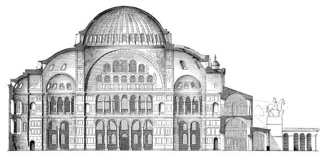 The plans for Justinian's original sanctuary of Hagia Sophia.