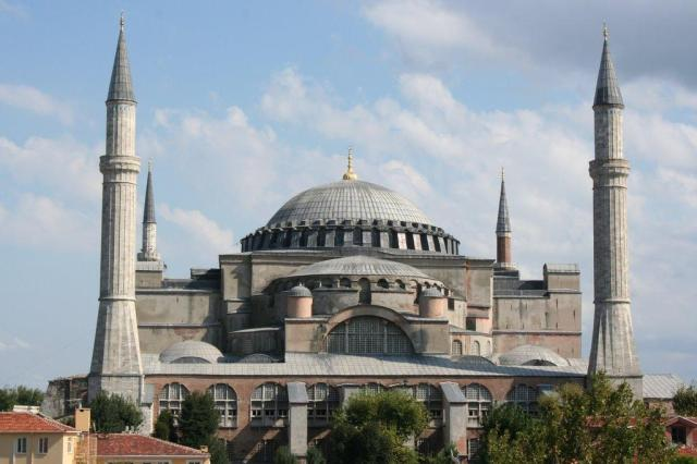 The church of Hagia Sophia, constructed during the reign of Justinian. Since 1453, it has been a mosque.