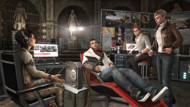 Miles Desmond, in Assassin's Creed: Brotherhood, sitting in an Animus: a machine that enables you to revisit ancestral memories and travel through time. But how to represent the experience of entering such a memory in fiction?