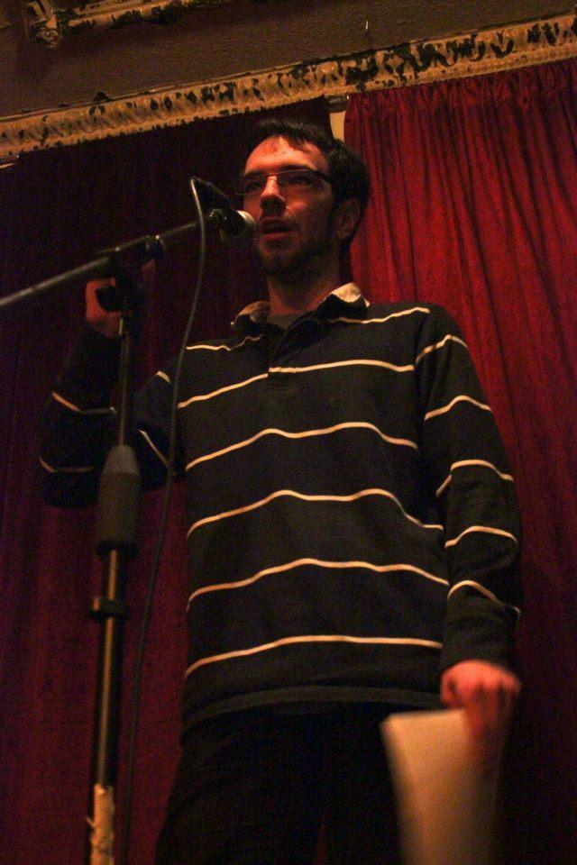 Me at Le Cagibi, a hipster Montreal restaurant, reciting one of my poems this Monday for the launch of McGill's two brilliant student magazines STEPS and The Veg.