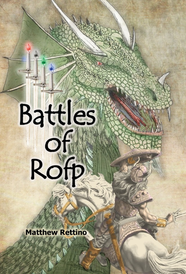 The front cover to my self-published novel Battles of Rofp. I drew the dragon and the swords, but not the horse and rider.