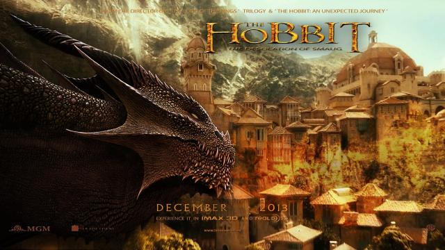 Movie Poster for The Desolation of Smaug. Food for thought question: Do you find the art direction more evocative of Tolkien himself, or post-Tolkien Dungeons-and-Dragons-style artwork (a copy of a copy of Tolkien)?