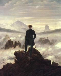 Eternal Wanderer: a famous painting of the sublime alps, often a cover for editions of Frankenstein. Also an apt name for a literature student.