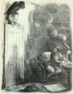 Poe's The Raven is inspired by a single obsessive image. Also, see his short stories The Black Cat and The Tell-Tale Heart