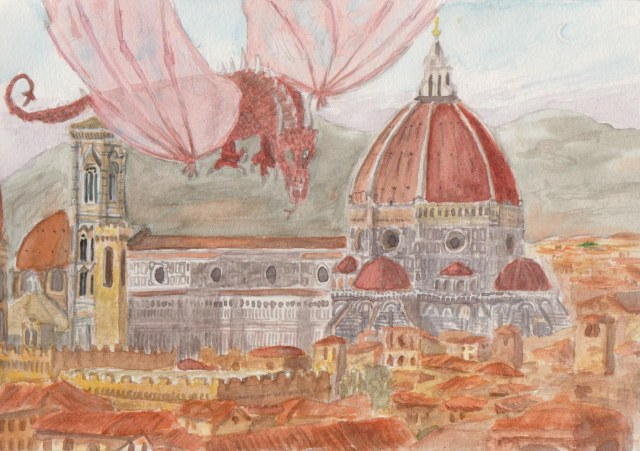 """Florentine Dragon"" my watercolour painting.  It is a complete product, but I may seek to produce a large painting in time, based on the same concept."