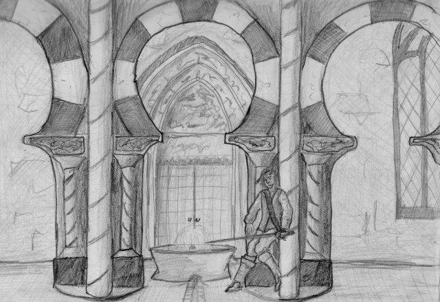 A pencil drawing that might serve as an illustration to my novel: Marco Vinciolo hides under a horseshoe arch, rapier drawn. But who hunts him?