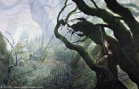 A John Howe illustration of Mythago Wood.