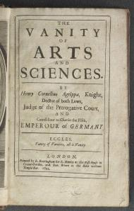 Agrippa's Famous On the Vanity of Arts and Sciences. Was alchemy itself a vain endeavour?