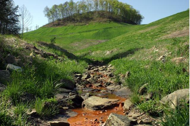 Reclaimed mountain that had been hollowed due to coal mining. Poisons still brown the stream.