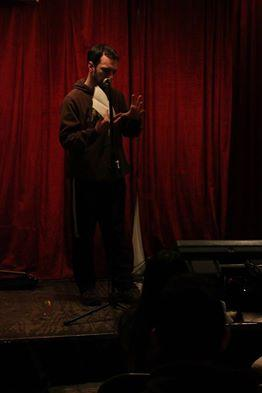I tell my joke on stage at Le Cagibi