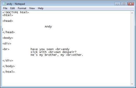 HTMElegies 1, Andy