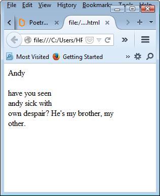 HTMElegies 2, Andy