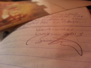 Brian Attebery's signature in my journal