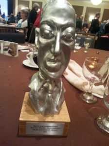 The World Fantasy Convention awarded the H.P. Lovecraft trophy this year for the last time. A new trophy is currently being designed.