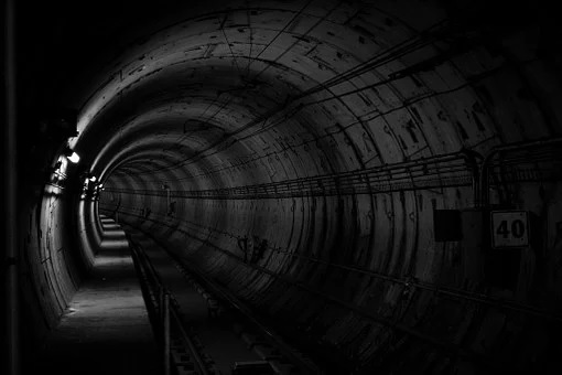 a dark subway tunnel