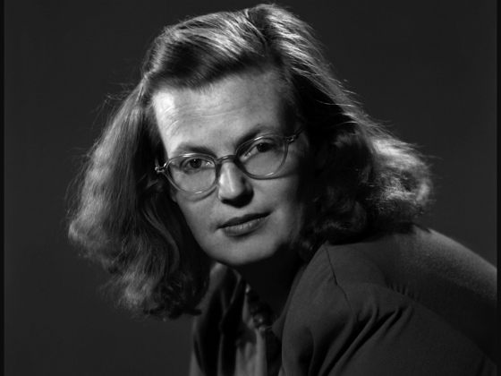 Black and white photo of author Shirley Jackson